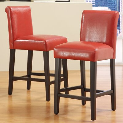 Genesee 24 Bar Stool Upholstery: Warm Red
