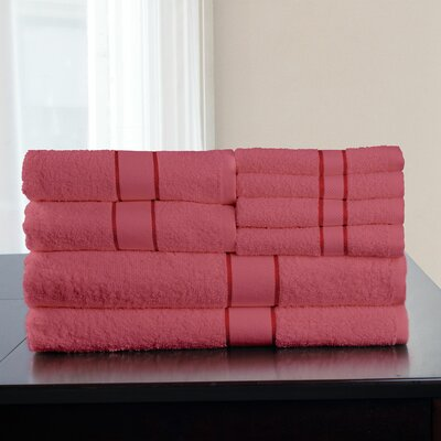 100% Egyptian Quality Cotton 8 Piece Towel Set Color: Rose