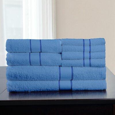 100% Egyptian Quality Cotton 8 Piece Towel Set Color: Blue