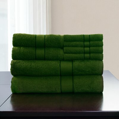 100% Egyptian Quality Cotton 8 Piece Towel Set Color: Green