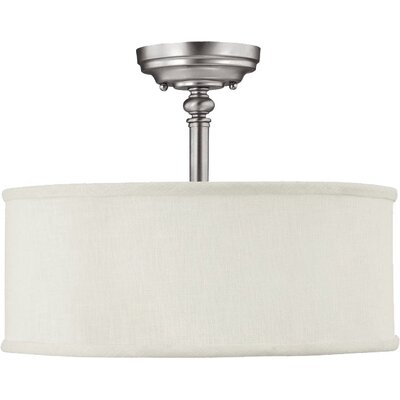 Thorpe 3-Light Semi Flush Mount Finish: Burnished Bronze, Shade Color: Beige