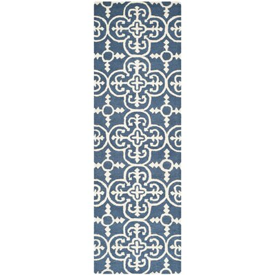 Byron Navy Blue /Ivory Tufted Wool Area Rug Rug Size: Runner 26 x 8