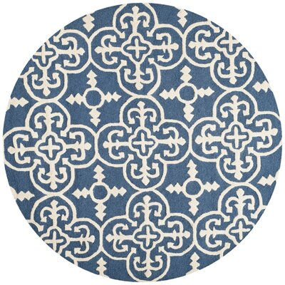Byron Navy Blue /Ivory Tufted Wool Area Rug Rug Size: Round 4