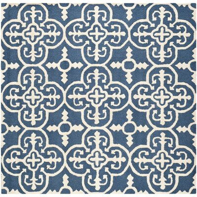 Byron Navy Blue /Ivory Tufted Wool Area Rug Rug Size: Square 6