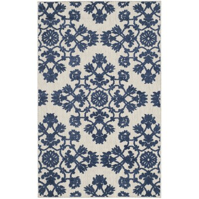 Light Gray/Royal Blue Indoor/Outdoor Area Rug Rug Size: 4 x 6