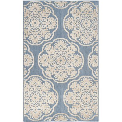 Rockville Light Blue/Beige Indoor/Outdoor Area Rug Rug Size: Rectangle 33 x 53