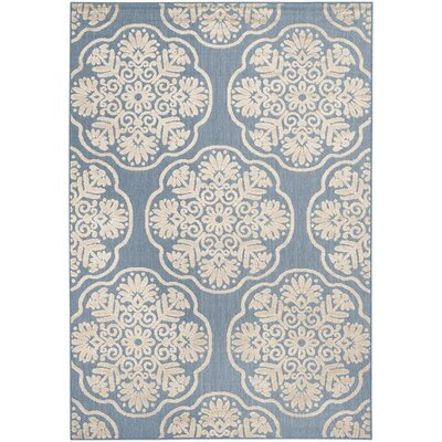 Rockville Light Blue/Beige Indoor/Outdoor Area Rug Rug Size: Rectangle 53 x 77
