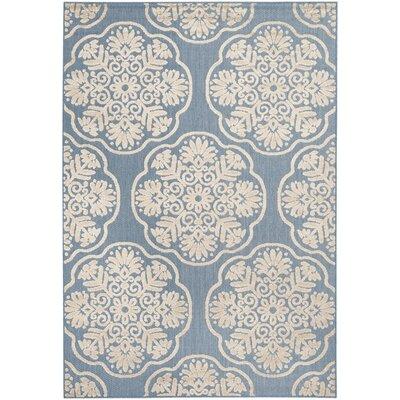 Light Blue/Beige Indoor/Outdoor Area Rug Rug Size: 53 x 77
