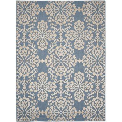Light Blue/Beige Indoor/Outdoor Area Rug Rug Size: 8 x 112