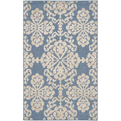 Light Blue/Beige Indoor/Outdoor Area Rug Rug Size: Round 67