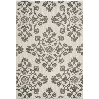 Cream/Gray Indoor/Outdoor Area Rug Rug Size: 33 x 53