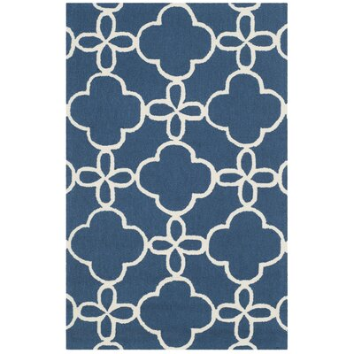 Hand-Hooked Navy/Ivory Indoor/Outdoor Area Rug Rug Size: 5 x 8