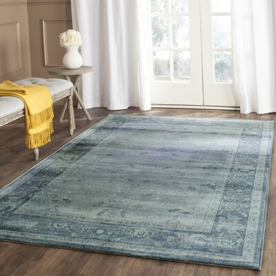Piercefield Light Blue/Dark Blue Area Rug Rug Size: Rectangle 9 x 12