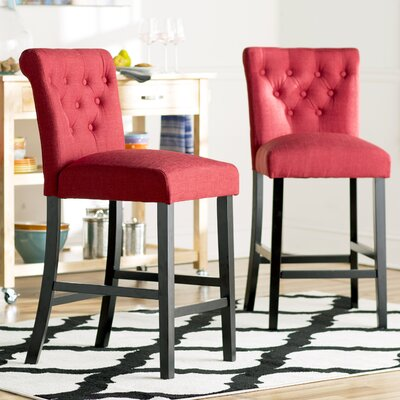 Mapletown 26 inch Bar Stool Upholstery: Deep Red