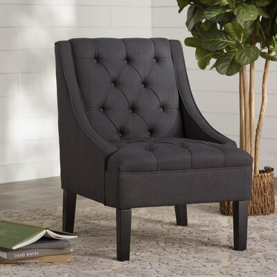 Button Tuffed Arm Chair Upholstery: Vienna Twilight
