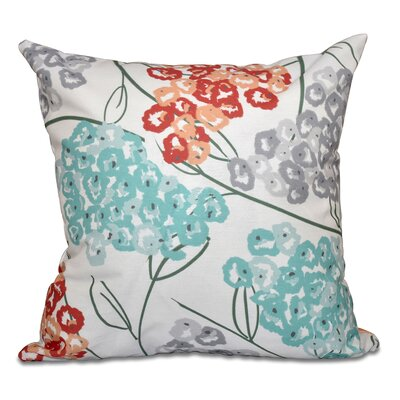 Greenwood Hydrangeas Throw Pillow Size: 16 H x 16 W, Color: Coral