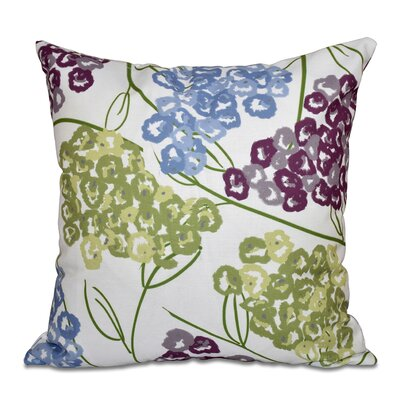 Greenwood Hydrangeas Floral Print Throw Pillow Size: 18 H x 18 W, Color: Purple