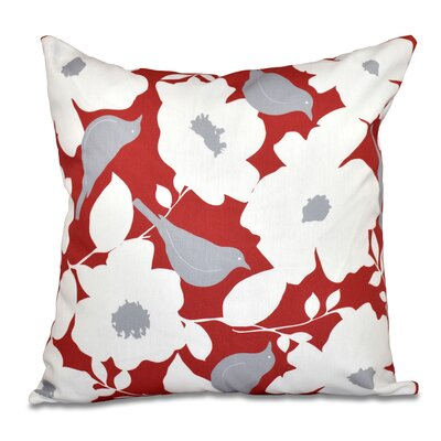 Franca Modfloral Floral Print Throw Pillow Color: Coral, Size: 18 H x 18 W