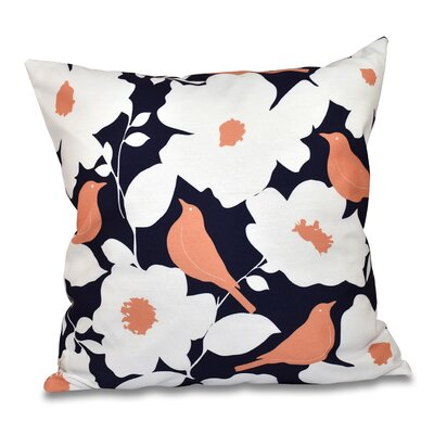 Franca Modfloral Floral Print Throw Pillow Size: 18 H x 18 W, Color: Navy Blue