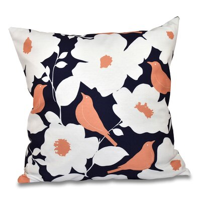 Franca Modfloral Outdoor Throw Pillow Size: 18 H x 18 W, Color: Navy Blue