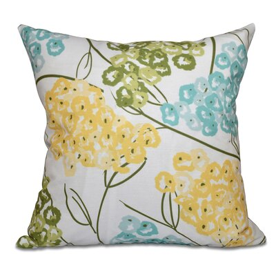 Chenango Hydrangeas Floral Print Outdoor Throw Pillow Size: 18 H x 18 W, Color: Yellow