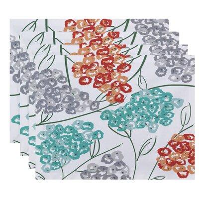 Elma Hydrangeas Floral Print Placemat Color: Coral
