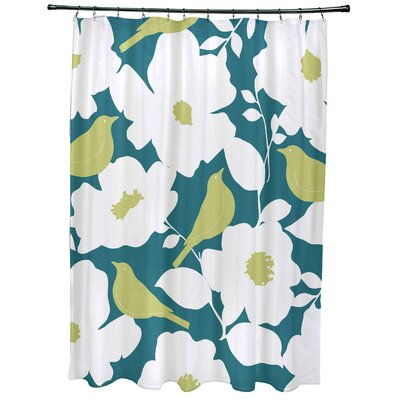 Christian Modfloral Print Shower Curtain Color: Teal