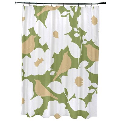 Christian Modfloral Print Shower Curtain Color: Green
