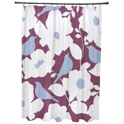 Christian Modfloral Print Shower Curtain Color: Purple