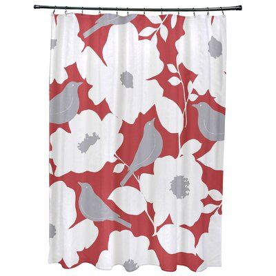 Christian Modfloral Print Shower Curtain Color: Coral
