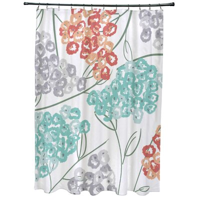 Christianson Hydrangeas Floral Print Shower Curtain Color: Coral