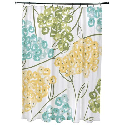 Richmondville Hydrangeas Floral Print Shower Curtain Color: Yellow
