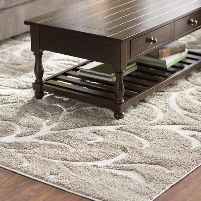 Cincinnatus Beige Floral Area Rug Rug Size: Rectangle 27 x 47