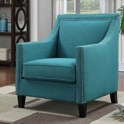 Rotterdam Studded Arm Chair Fabric: Teal