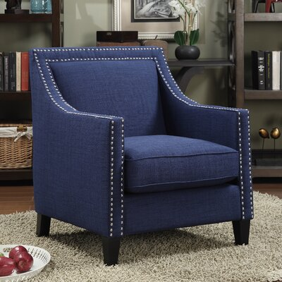 Rotterdam Studded Arm Chair Fabric: Blue