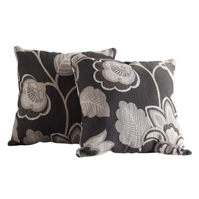 Rockwood Fabric Throw Pillow Fabric: Black and White Floral