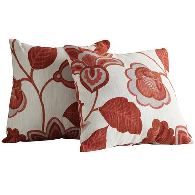 Rockwood Fabric Throw Pillow Fabric: Red Floral Print
