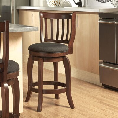 Morgan 24 Swivel Bar Stool Upholstery: Dark Grey