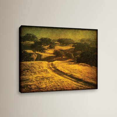 Ranch Road and Oak Savanah Painting Print on Wrapped Canvas
