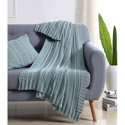 Machias Cable Knit Throw Color: Spa/Blue