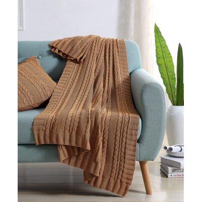 Machias Cable Knit Throw Color: Camel