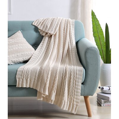 Machias Cable Knit Throw Color: Ivory