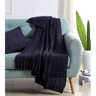 Machias Cable Knit Throw Color: Navy