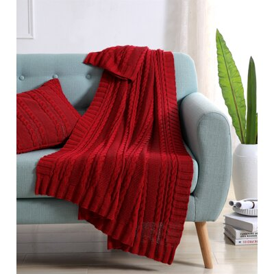 Machias Cable Knit Throw Color: Red
