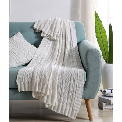 Machias Cable Knit Throw Color: White
