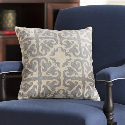 Helene 100% Cotton Throw Pillow Size: 22 H x 22 W x 2.5 D, Color: Light Gray