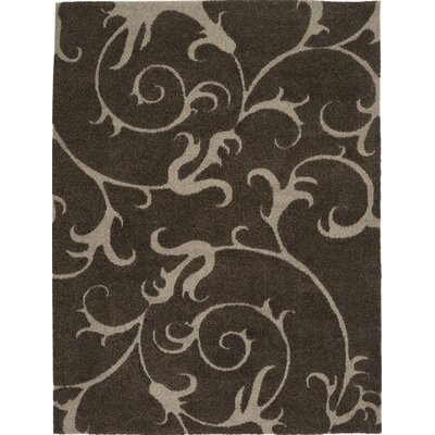 Cincinnatus Floral Brown Area Rug Rug Size: Rectangle 27 x 47