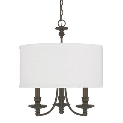 Thorpe 3-Light Drum Pendant Shade Color: White
