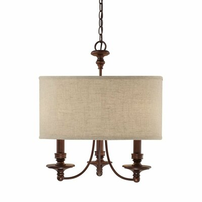 Thorpe 3-Light Drum Pendant Shade Color: Beige