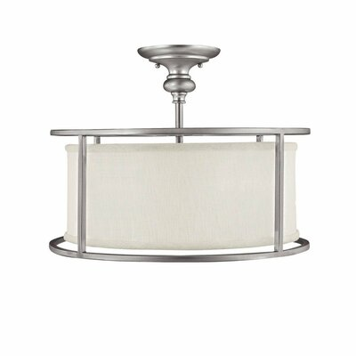 Thorpe 3-Light Semi-Flush Mount with Frosted Diffuser Finish: Matte Nickel, Shade Color: White